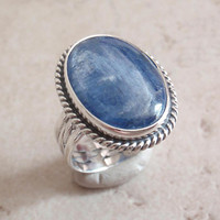 Kyanite Ring Sterling Silver Blue Gemstone Oval Chatoyant Size 6.25 Vintage GS0066
