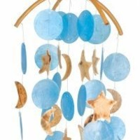 Asli Arts Collection C206 Dark Blue Capiz Chime with Moon and Star