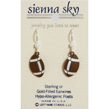 Sienna Sky Dangle Earrings Metal Football Ball Game Superbowl