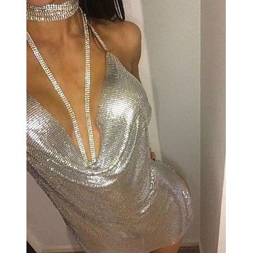 Hot sale fashion sexy halter low chest v neck backless dress Silver