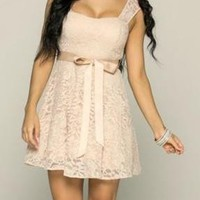 Everlasting Enchantment Illusion Beige Lace Dress