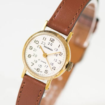 Classy womens watch Sekonda, lady wristwatch gold plated case, 24 hours face watch her, delicate woman watch gift, genuine leather strap new