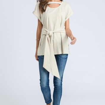Strap Front Tee, Taupe