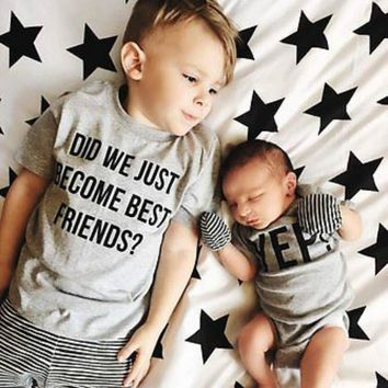Summer Cartoon Family Matching Kids Top T-shirt Big Brother T-shirt +Little Brother Cute Romper Family Tops Clothes Outfits 0-6Y