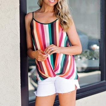 * Twist And Shout Striped Tank : Green Multi