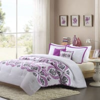 Intelligent Design Becky Floral Scroll Comforter Set