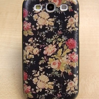 Samsung galaxy s3 case Vintage style flowers Hard samsung galaxy s3 Cover