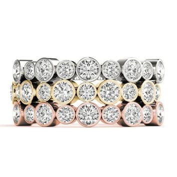 Stackables 1/2 Eternity Tri-Tone Gold Full Bezel Round Diamonds 3-Band Set