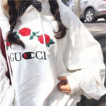 GUCCI Fashion Casual Embroidered Rose Flower Hoodie Sweatershirt White