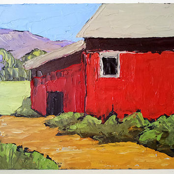 Original IMPRESSIONIST Painting California Plein Air Landscape Art Red FARM BARNS Free Shipping Lynne French