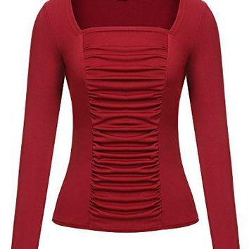 Mixfeer Womens Long Sleeve Square Neck Ruched MeshFront Blouse Top Shirt
