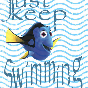 Dory Image,  Dory Quote Poster,Just Keep Swimming Poster, Nemo Wall Art, Nemo Image, Nautical Wall Décor, Kids Room Art, Nursery Room Art