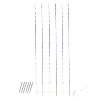 Set of 6 Purple LED Lighted White Branch Patio and Garden Novelty Christmas Light Stakes 6'