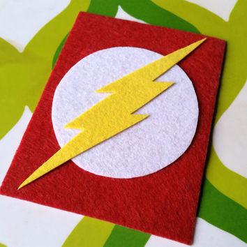 The Flash Inspired Adhesive Patch / Magnet - Superhero Sticky Felt Patch / Sticker