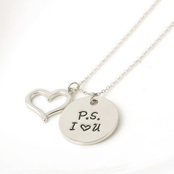 "Alloy ""PS love you"" Letter Pendant Necklace for Women"