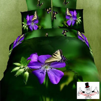 3D Yellow Purple Floral Butterfly Quilt Cover and Bedding Set