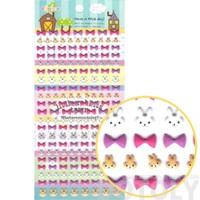 Kawaii Bunny Rabbit Face and Ribbon Bows Shaped Animal Themed Puffy Stickers for Kids