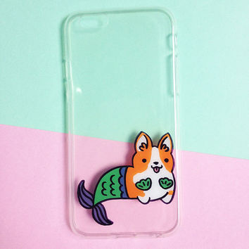 Hand painted Mermaid Corgi phone cases, iPhone 7 case clear, iPhone 6 case, iPhone 6s case, Dog phone case, Samsung Galaxy S7 Edge Case