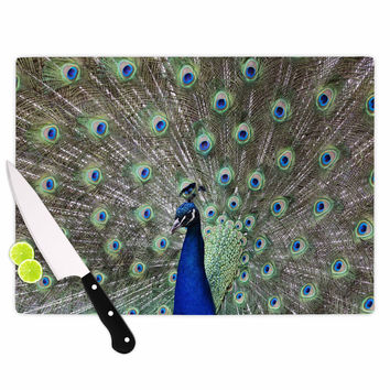 "Qing Ji ""Peacock of Stunning Feathers"" Brown Green Cutting Board"
