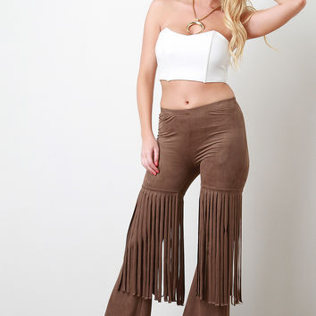 Suede Fringe Flared Bottom Pants