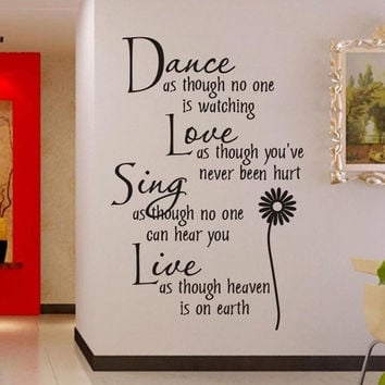 Home Decoration Dance Love Sing Live Wall Sticker Quotes Decals Removable Stickers Decor Vinyl Art Stickers HG-WS-1578 = 1705937668