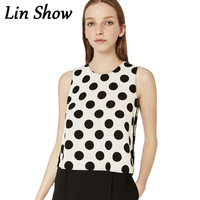 Chiffon Polka Dot Print Women Blouses Summer Casual Loose Shirt 2016 Fashion Cute O Neck Sleeveless Ladies Tops