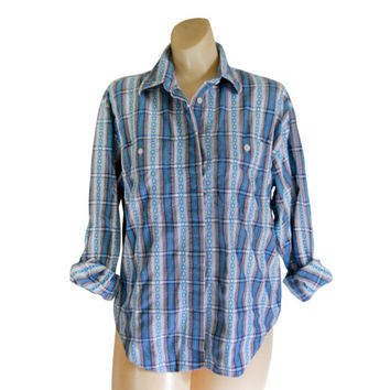 Southwestern Shirt Southwest Shirt Southwest Clothing Purple Blouse Collared Shirt Button Down Shirt Long Sleeve Shirt Teal Shirt American