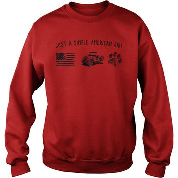 Just a simple American girl flag jeep and dog paw shirt Sweatshirt Unisex