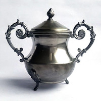 Vintage elaborated Victorian style footed pewter sugar bowl with lid - Made in Italy