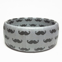 Mustache bracelet, novelty bracelet, fun jewelry mustache print bangle bracelet