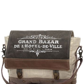Myra Bag Grande Bazar Up-cycled Canvas Messenger S-0963