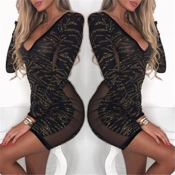 Deep V Neck Bodycon High Waist Slim Mesh Mini Dress Long Sleeve Cotton Women Fashion Sexy Glittering Sequins