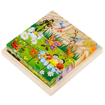 Educational Toy 3D Wooden Puzzle for Kids Cube Puzzle Insect(2 Years and up)