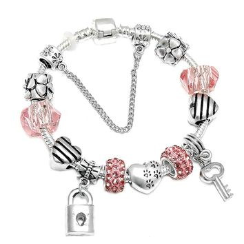 SPINNER Romantic Love DIY Charm Bracelet Love Heart Key and Lock Brand Bracelet for Women Jewelry Christmas New Year's Gift