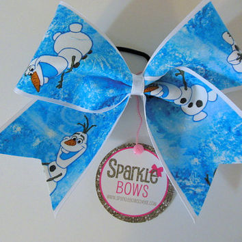 Olaf Fabric Large Cheer Bow Hair Bow Cheerleading