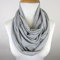 Grey Infinity Scarf - Soft Grey Cowl - Light Grey Circle Scarf