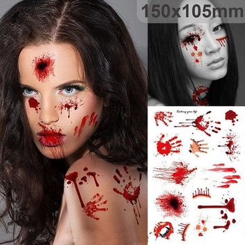 DKF4S Halloween Zombie Scars Tattoos With Fake Scab Bloody Costume Makeup Halloween Decoration Terror Wound Scary Blood Injury Sticker
