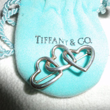 Tiffany & Co Sterling Silver Vintage Triple Heart  Brooch Pin