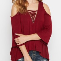 Dark Olive Lattice Cold Shoulder Top | Cold Shoulder | rue21