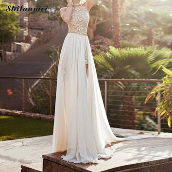 2018 Women Elegant Lace Party Maxi Dress Sexy Backless See Through Long Dress Luxury Ball Prom Gown Wedding Bridesmaid Vestidos