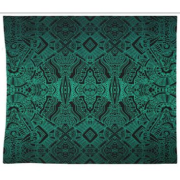 Green Aztec Pattern Tapestry Wall Hanging Meditation Yoga Hippie