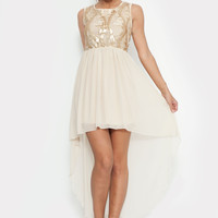 White Asymmetric Dress with Gold Sequin Bodice
