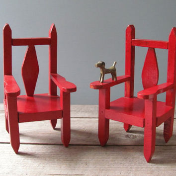 Vintage Red Folk Art Chairs by oldschoolfarm on Etsy