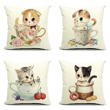 Cute Cushion Cover Cat Decorative Cushion Cover for Sofa Seat Cushion Cover Linen High Quality Cotton Chair Square Cushion Cover