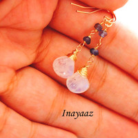 Moonstone Iolite Earrings, Long Gemstone Dangle, Gold Wire Wrapped, Gemstone  Wire Wrapped Gold Jewelry Free  Shipping