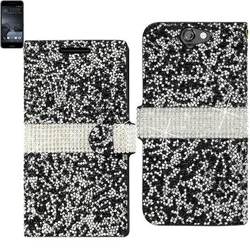 BLING Diamond Flip Case HTC One A9 BLACK