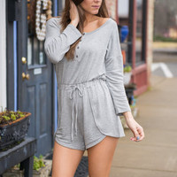 Just Too Cool Romper, Heather Gray