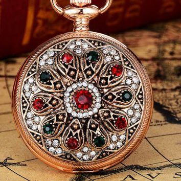 ONETOW Women's pocket watch classic retro classic full diamond fashion men's gift bracelet watch