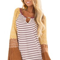 Burgundy and Mustard Striped Top with Knit Bell Sleeves