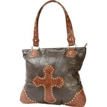Large Leather Purse w/ Shoulder Strap Italian Stone Design & Studded Cross